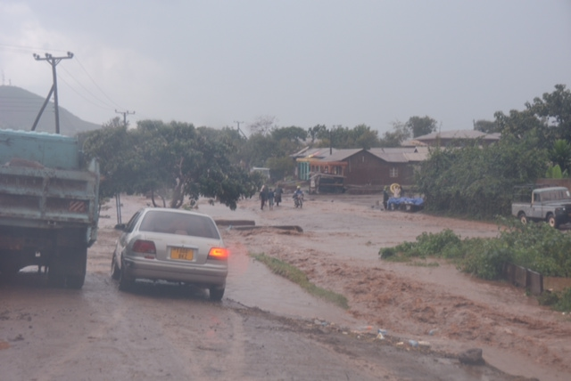 Flooding in downtown Karatu