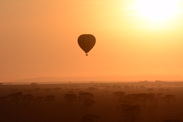 Our view of sunrise on the Serengeti