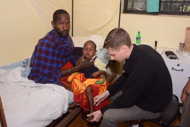 Doug examining a young Maasai boy who presented in status epilepticus