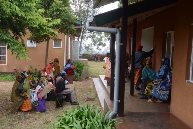 Patients waiting to be seen at the Rift Valley/Oldeani clinic