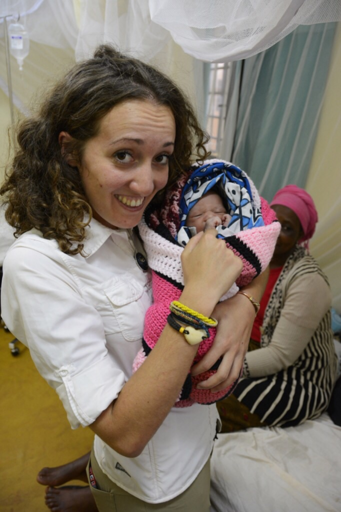 Paulina Holding One of the New Babies on the Ward
