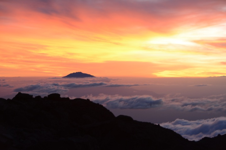 Mt. Meru in the distance with a gorgeous sunset