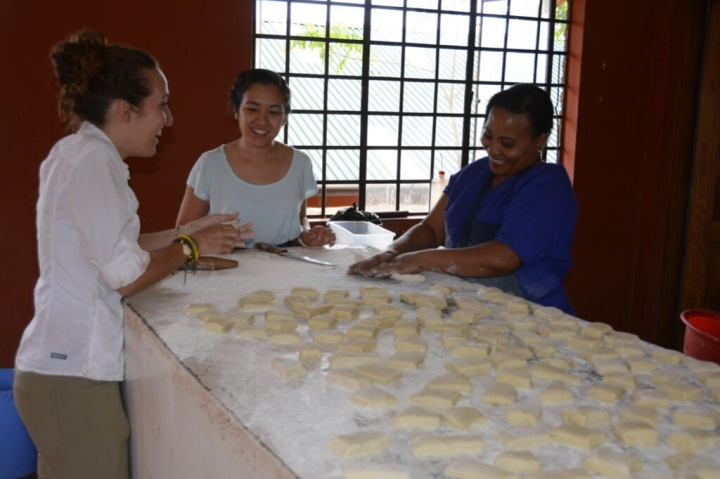 Paulina, Thu and Julianna Making Mandazi