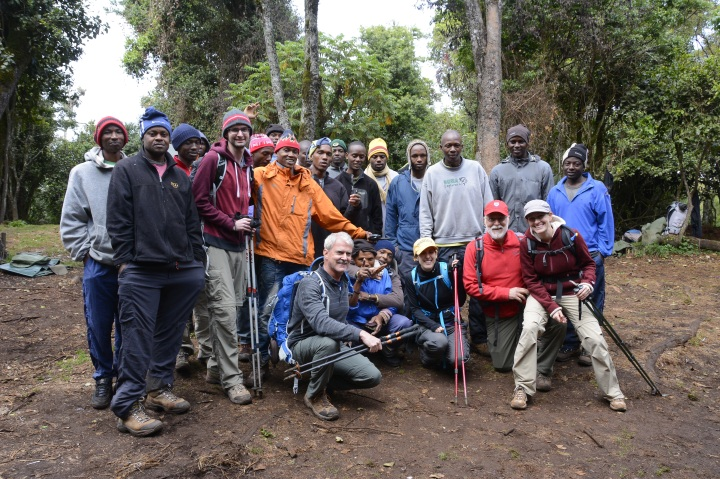 Our group as we leave on our journey for real - Me, Jeff, Nick, Danielle, Lindsay, 3 guides and 19 porters...