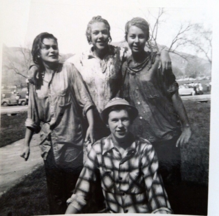 Gloria Sarett, on left, during a water fight while at the University of Colorado, Boulder