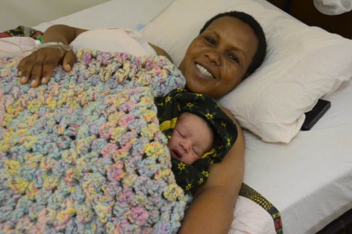 Another Happy Mother and Baby with Blanket