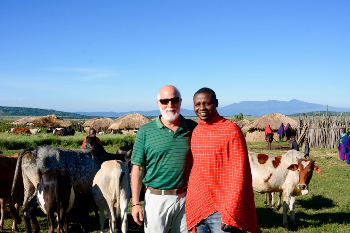 Me and Sokoine in front of his cattle