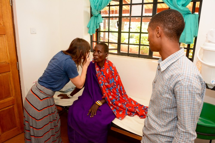 Jess and Daniel evaluating a Maasai woman with headache