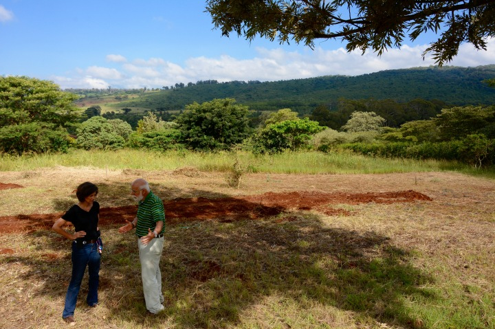 Susan and I discussing the project with our lovely view of Shangri La Coffee Plantation in the far distance