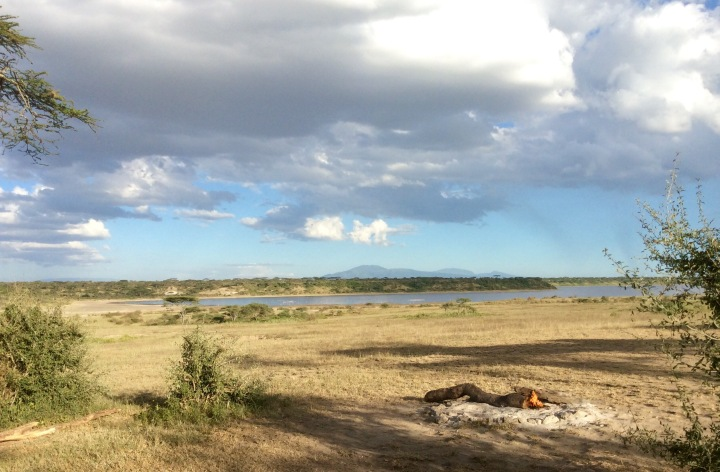 Our view from camp. Lake Ndutu in the background
