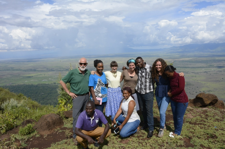 The gang at the overlook with the Great Rift Valley in the background