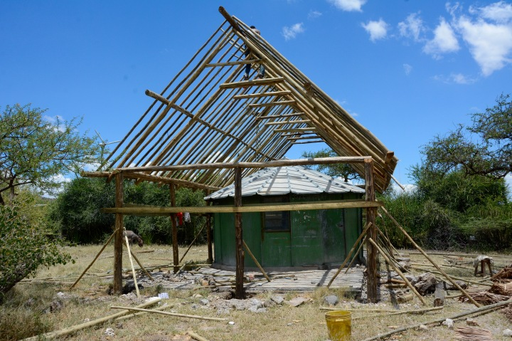 Mary Leaky's Hut with new construction for a roof to protect it