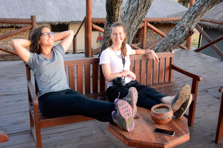 Relaxing on the observation deck after our drive to the lodge