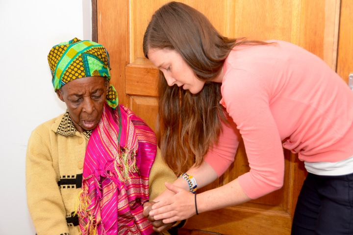 Kelley evaluating an elderly patient