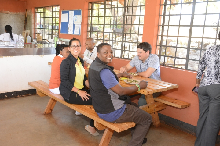 Salina,Laura, Sokoine and Alex in the canteen