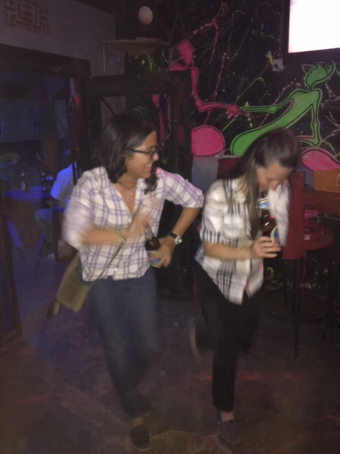 Laura and Kelley livening up the dance floor at Carnivore