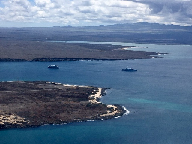 Isla Baltra in the foreground and Isla Santa Cruz with its distant highlands
