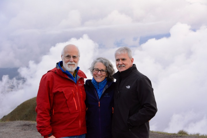 Mike, Kathy and Jeff high above the clouds and Quito